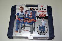 Dětský pracovní ponk v kufru, nářadí + vrtačka