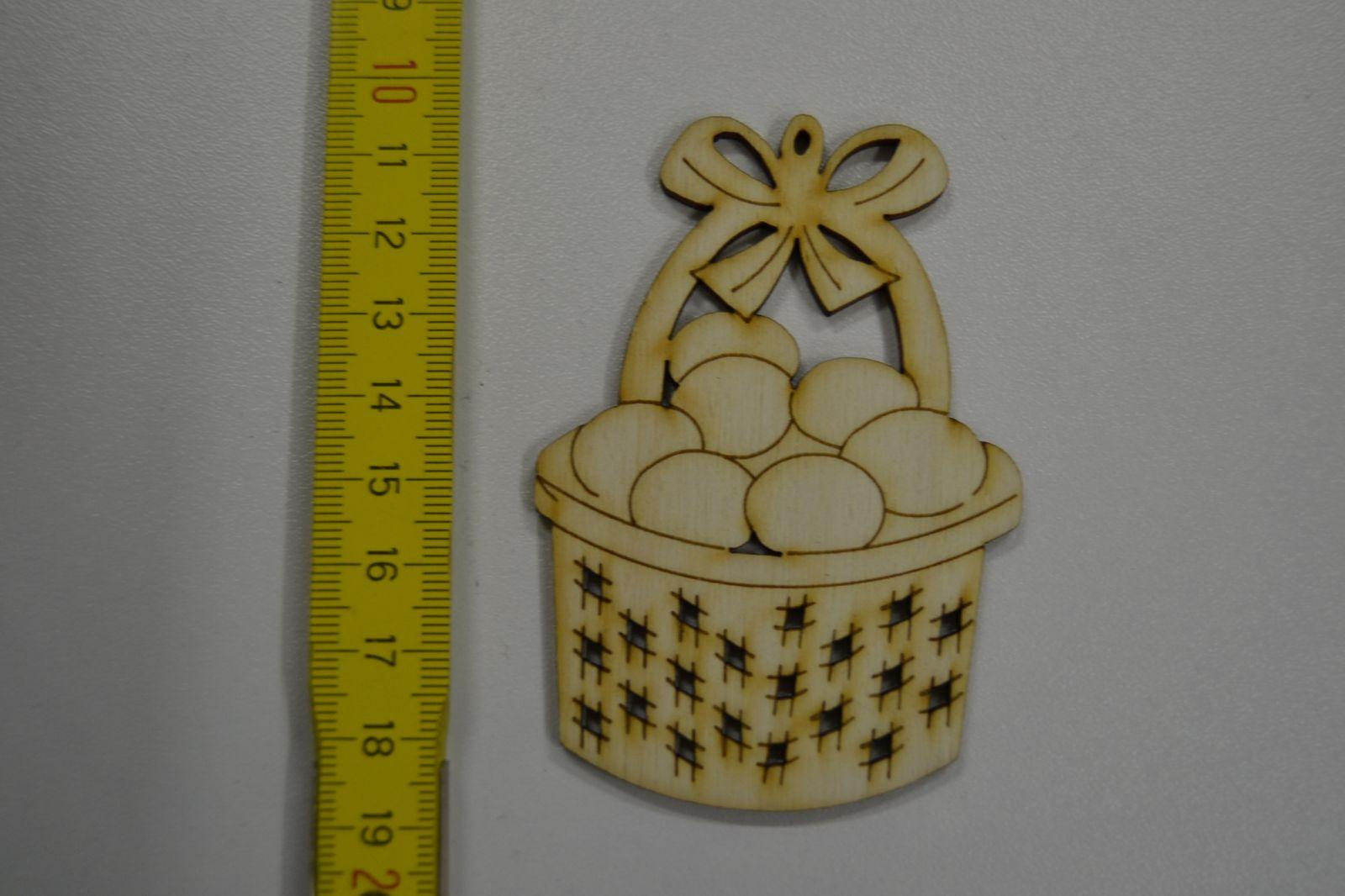 Dřevěná ozdoba - velikonoční koš s vejci VE23