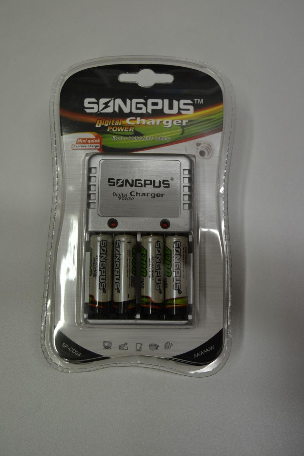 Nabíječka na tužkové, mikrotužkové a 9V baterie + 4 AA baterie