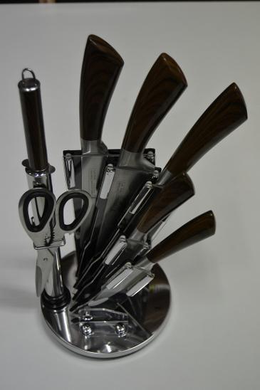 Sada nožů lux ve stojanu 8ks tm.dřevo - NOŽE, NŮŽ