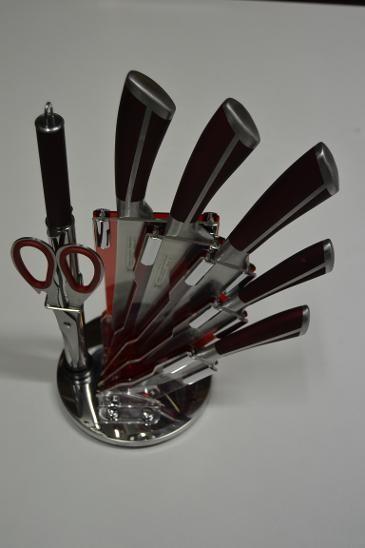Sada nožů lux ve stojanu 8ks vínové - NOŽE, NŮŽ