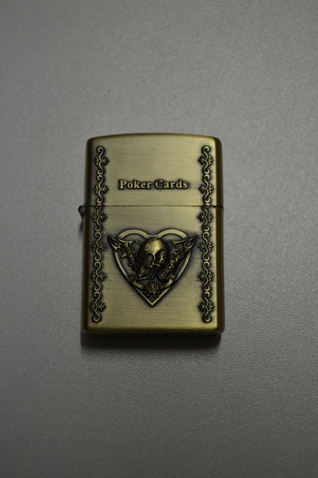 Benzínový zapalovač č. 45 - poker cards srdce