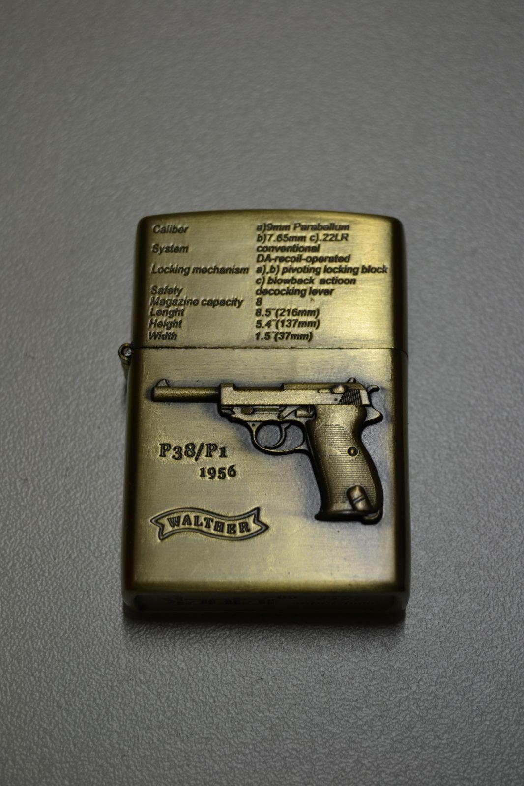 BENZÍNOVÝ ZAPALOVAČ Č.8 - pistole walther P38/P1 1956