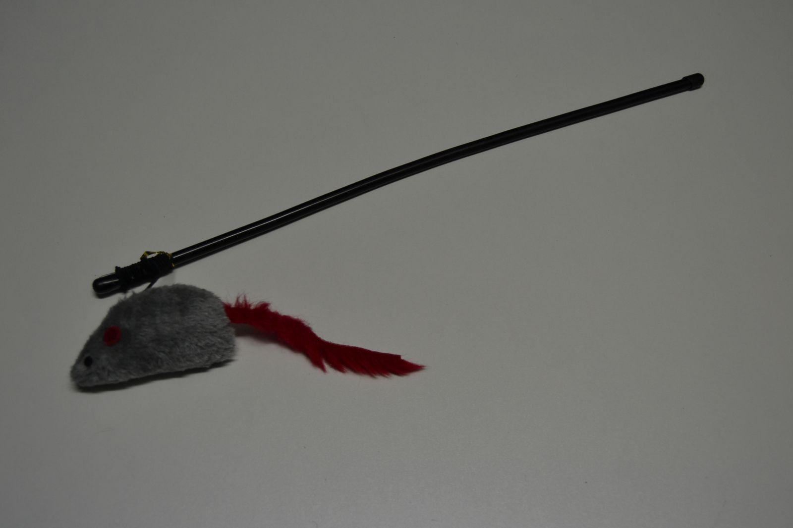 Hračka pro kočky - pískající myš na tyčce