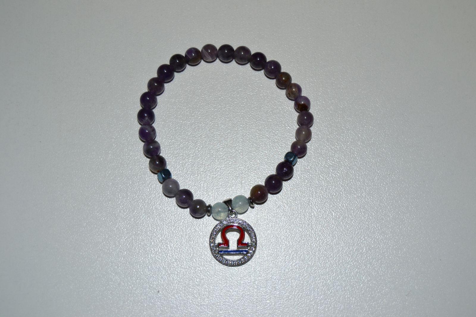 Náramek z drahokamů - znamení váhy - ametyt/akvamarín