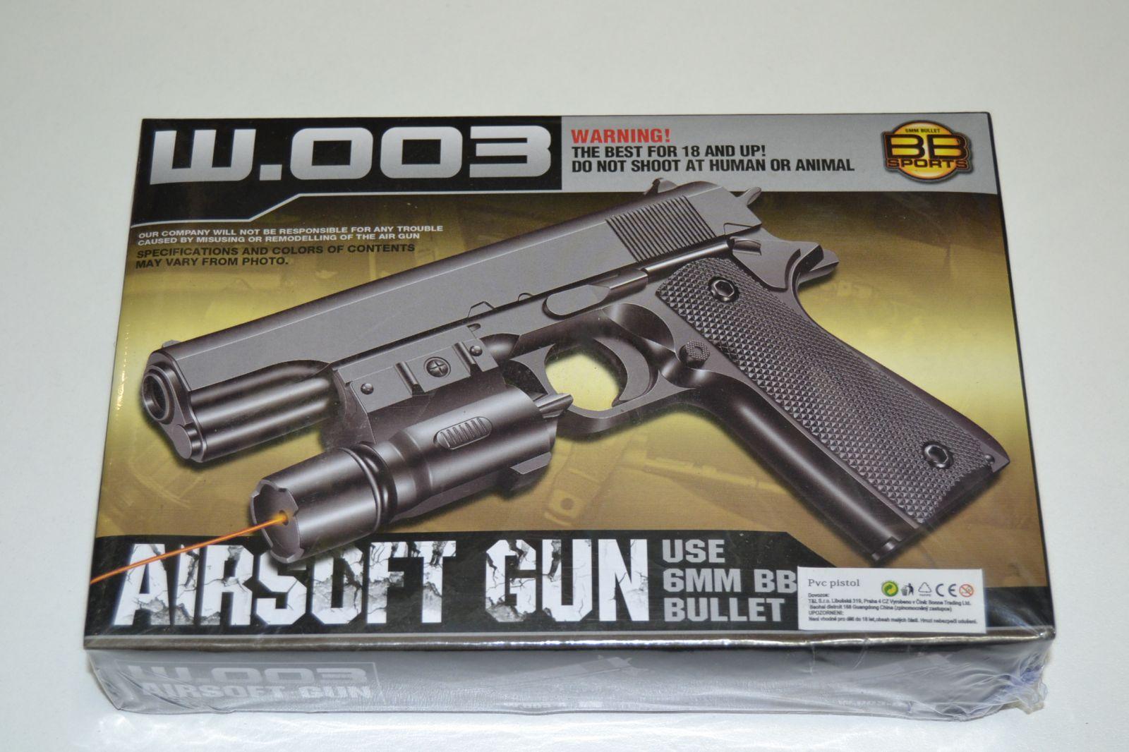 Plastová kuličkovka W003, kuličková pistole, BB air sport gun