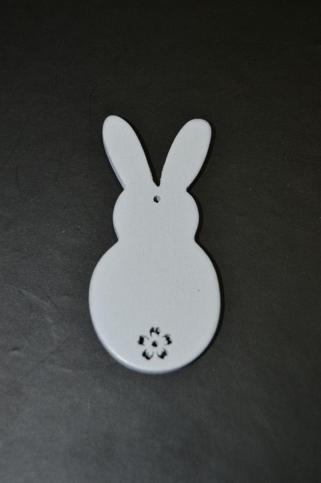 Velikonoční ozdoba - dřevěná dekorace - zajíček bílý