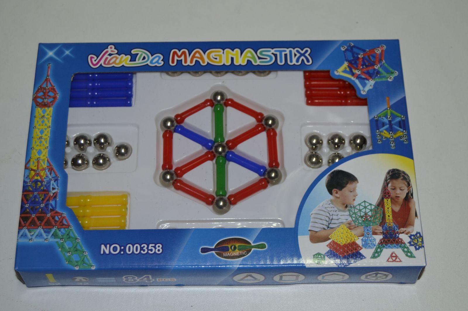 Magnetická stavenice - magnetic 84 dílů, magnastix