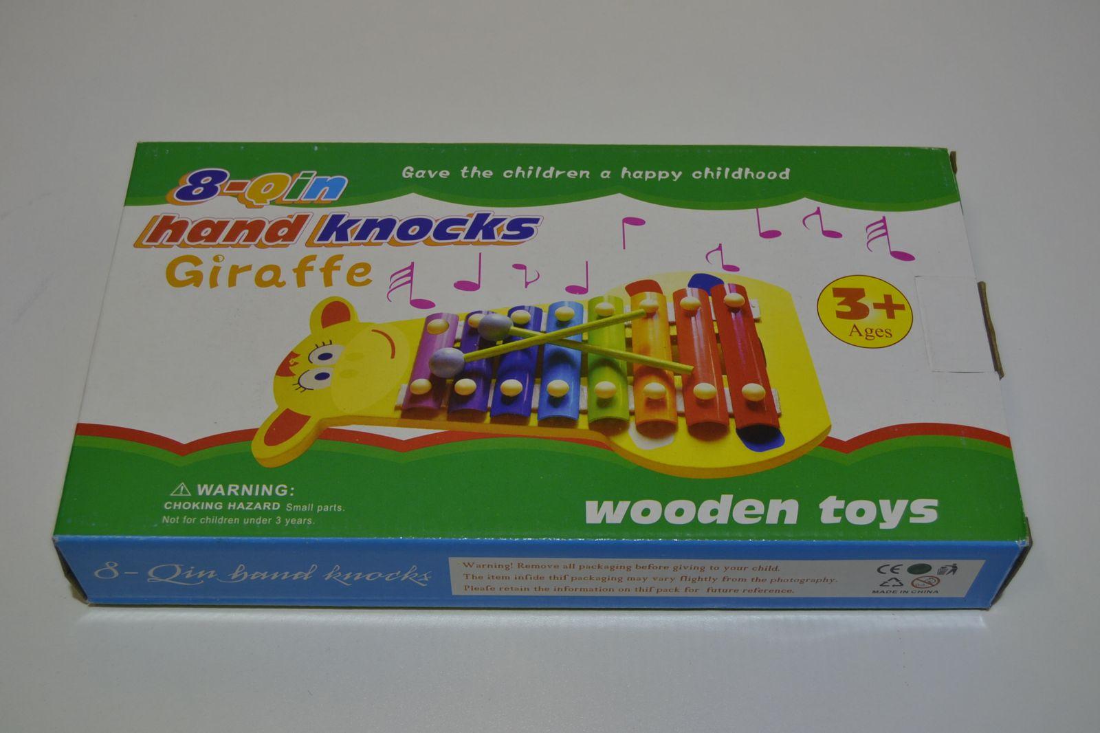 Dřevěný xylofon - žirafa - 8 tónů - dřevo/kov