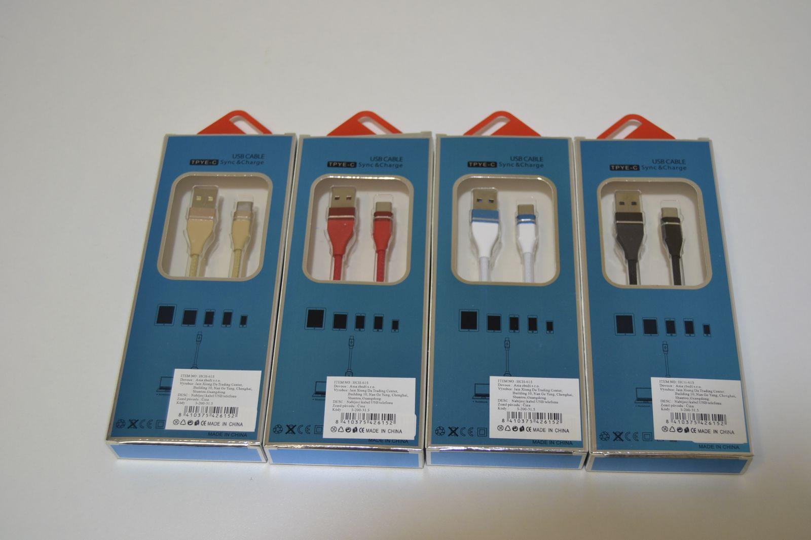 Rychlonabíjecí kabel na telefony s koncovkou USB - C