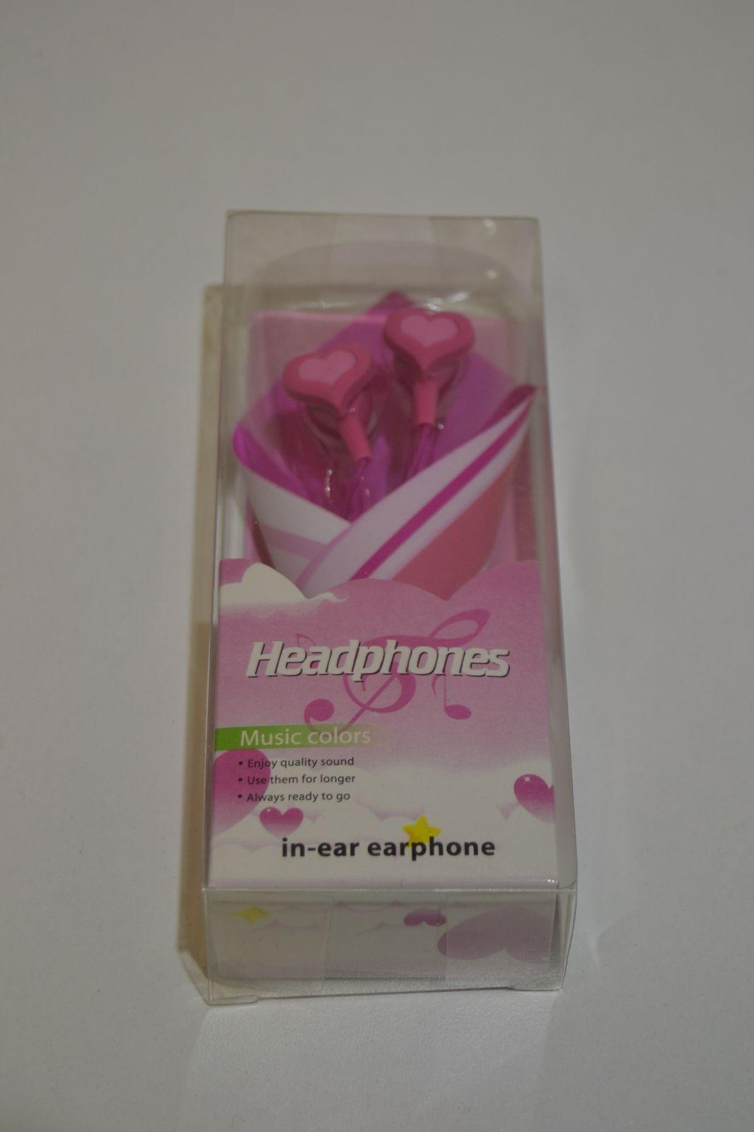Sluchátka in ear ( do uší ) - růžová, tvar srdce, srdíčko
